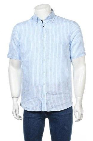 Мъжка риза Christian Berg, Размер S, Цвят Син, 100% лен, Цена 20,70лв.