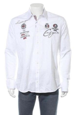 Мъжка риза Cipo & Baxx, Размер L, Цвят Бял, 97% памук, 3% еластан, Цена 43,45лв.