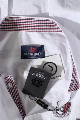 Мъжка риза Cipo & Baxx, Размер L, Цвят Бял, 97% памук, 3% еластан, Цена 59,25лв.