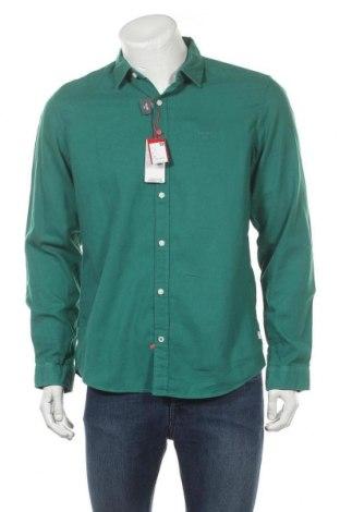 Мъжка риза S.Oliver, Размер L, Цвят Зелен, 55% лен, 45% памук, Цена 20,70лв.