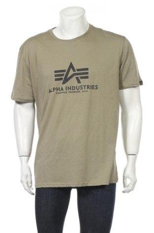 Мъжка тениска Alpha Industries, Размер XXL, Цвят Зелен, Памук, Цена 57,67лв.