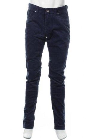 Pantaloni raiați de bărbați Montego, Mărime L, Culoare Albastru, 98% bumbac, 2% elastan, Preț 131,64 Lei