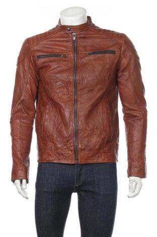 Ανδρικό δερμάτινο μπουφάν Jack & Jones, Μέγεθος S, Χρώμα Καφέ, Γνήσιο δέρμα, Τιμή 80,96€