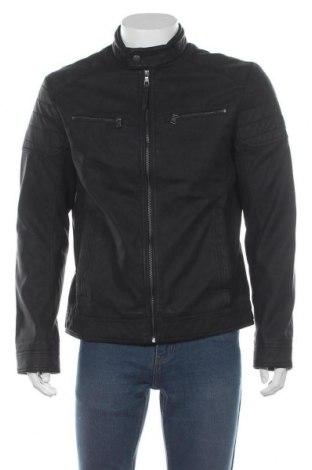 Ανδρικό δερμάτινο μπουφάν Tom Tailor, Μέγεθος L, Χρώμα Μαύρο, Δερματίνη, Τιμή 39,68€