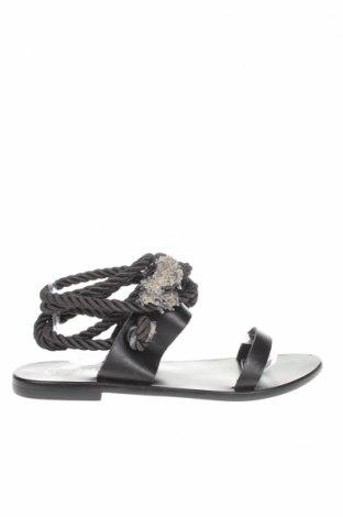 Сандали W.S Shoes, Размер 38, Цвят Черен, Естествена кожа, текстил, Цена 72,98лв.