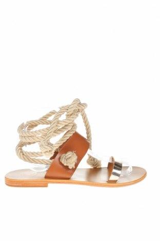 Σανδάλια W.S Shoes, Μέγεθος 38, Χρώμα Καφέ, Γνήσιο δέρμα, κλωστοϋφαντουργικά προϊόντα, Τιμή 34,41€
