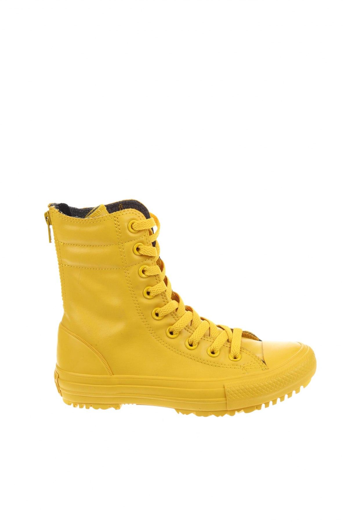 Дамски обувки Converse, Размер 35, Цвят Жълт, Полиуретан, Цена 79,43лв.