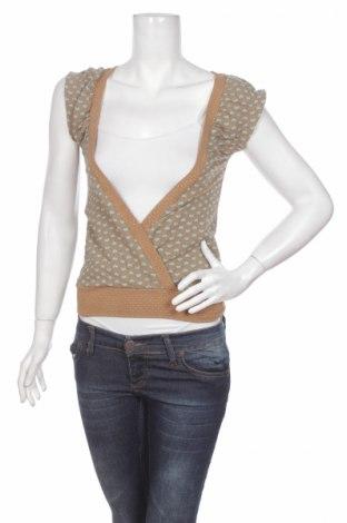 Дамска блуза Lux, Размер S, Цвят Кафяв, Памук, полиестер, еластан, Цена 4,50лв.