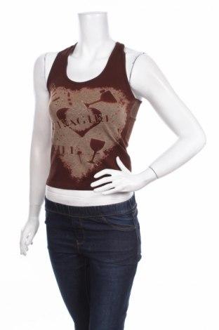 Γυναικείο αμάνικο μπλουζάκι Amour, Μέγεθος S, Χρώμα Καφέ, 92% βαμβάκι, 8% ελαστάνη, Τιμή 4,33€