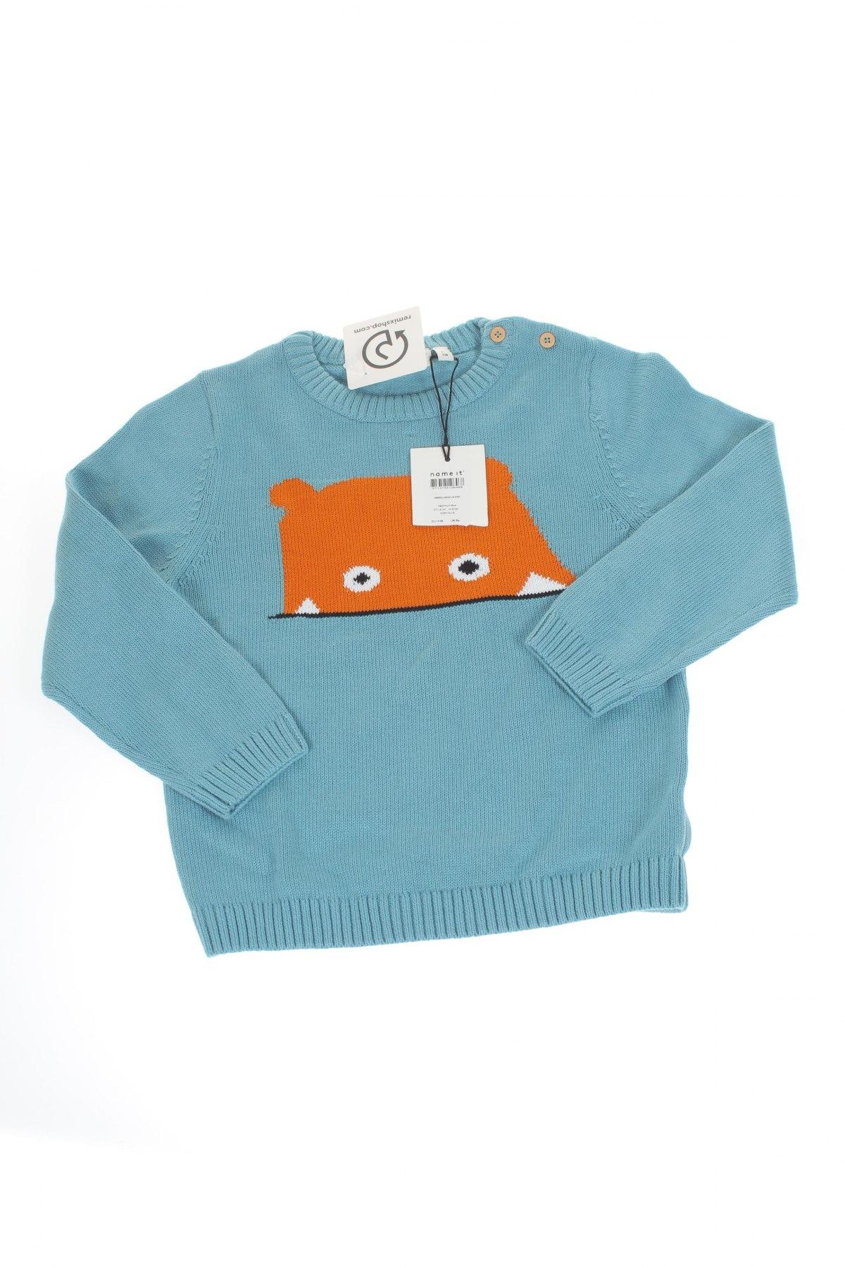 Детски пуловер Name It, Размер 5-6y/ 116-122 см, Цвят Син, Памук, Цена 31,20лв.