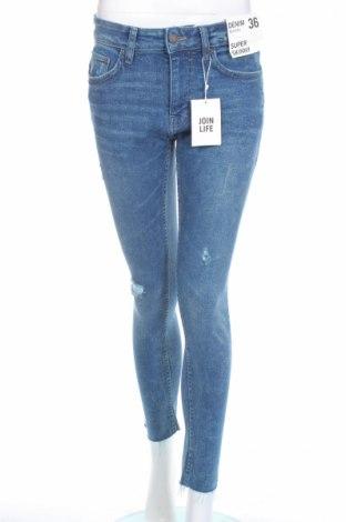 Blugi de femei Bershka, Mărime S, Culoare Albastru, 99% bumbac, 1% elastan, Preț 98,52 Lei