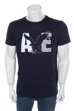 Мъжка тениска American Eagle, Размер M, Цвят Син, 60% памук, 40% полиестер, Цена 28,00лв.