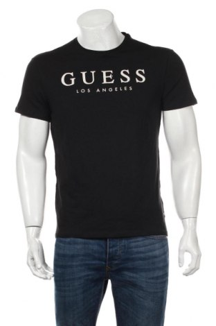 Мъжка тениска Guess, Размер L, Цвят Черен, 95% памук, 5% еластан, Цена 48,18лв.