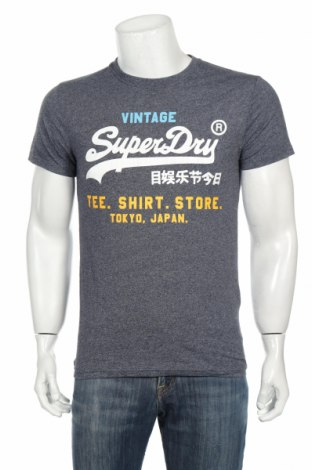 Tricou de bărbați Superdry, Mărime M, Culoare Albastru, 50% bumbac, 50% poliester, Preț 107,58 Lei