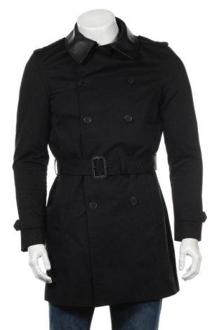 Pánský přechodný kabát  The Kooples, Rozměr S, Barva Černá, Bavlna, pravá kůže, Cena  5928,00Kč
