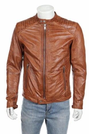 Мъжко кожено яке Freaky Nation, Размер M, Цвят Кафяв, Естествена кожа, Цена 281,40лв.