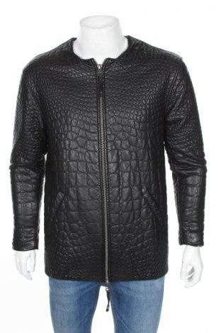 Мъжко кожено яке Pepe Jeans, Размер L, Цвят Черен, Еко кожа, Цена 29,40лв.
