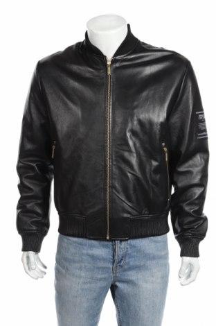 Мъжко кожено яке Versace Jeans, Размер M, Цвят Черен, Естествена кожа, Цена 364,32лв.