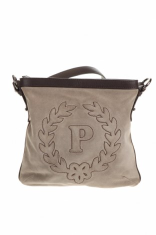 Дамска чанта Pollini, Цвят Сив, Естествен велур, естествена кожа, Цена 141,00лв.
