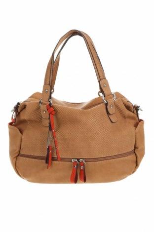Дамска чанта Tom Tailor, Цвят Кафяв, Еко кожа, Цена 48,75лв.