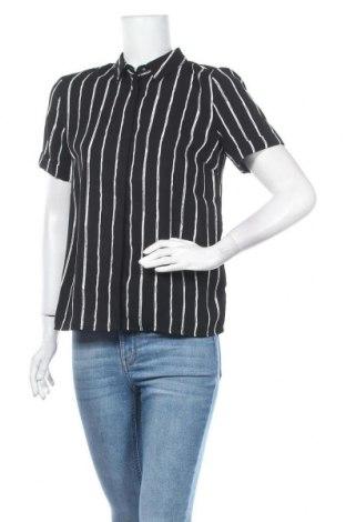 Γυναικείο πουκάμισο Pieces, Μέγεθος S, Χρώμα Μαύρο, Πολυεστέρας, Τιμή 18,44€