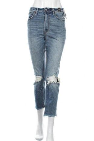 Дамски дънки Abercrombie & Fitch, Размер M, Цвят Син, 99% памук, 1% еластан, Цена 126,75лв.
