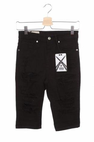 Дамски къс панталон Criminal Damage, Размер XS, Цвят Черен, 98% памук, 2% еластан, Цена 40,50лв.