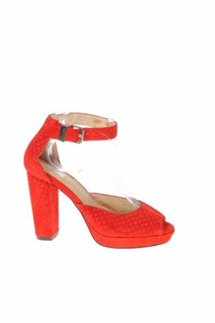 Дамски обувки Nude, Размер 38, Цвят Червен, Естествен велур, Цена 45,36лв.
