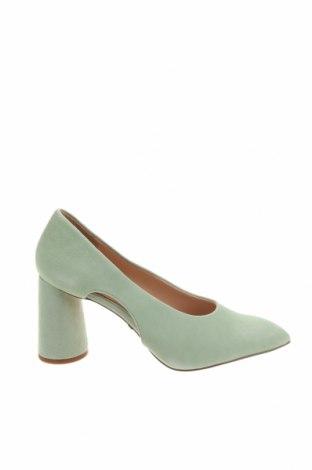 Дамски обувки Topshop, Размер 35, Цвят Зелен, Естествен велур, Цена 55,47лв.