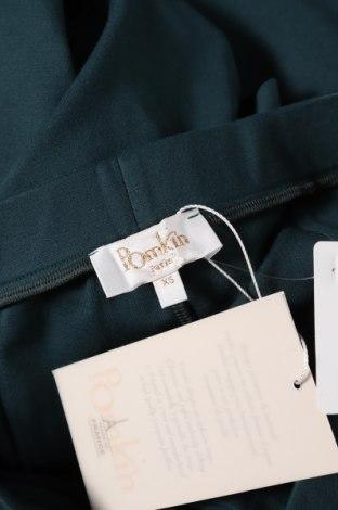Дамски панталон Pomkin, Размер XS, Цвят Зелен, 68% вискоза, 27% полиамид, 5% еластан, Цена 25,70лв.