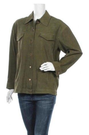 Γυναικείο δερμάτινο μπουφάν Sandro, Μέγεθος M, Χρώμα Πράσινο, Γνήσιο δέρμα, Τιμή 177,24€
