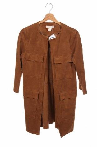 Дамско палто H&M, Размер XS, Цвят Кафяв, 91% полиестер, 9% еластан, Цена 39,00лв.