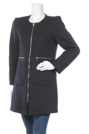 Дамско палто H&M, Размер L, Цвят Син, 52% полиестер, 48% памук, Цена 33,08лв.