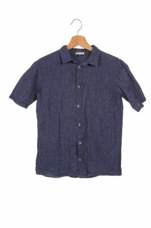 Детска риза Pomp De Lux, Размер 10-11y/ 146-152 см, Цвят Син, 55% лен, 45% памук, Цена 4,73лв.