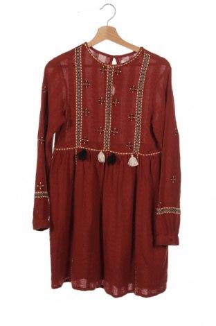 Детска рокля Zara, Размер 13-14y/ 164-168 см, Цвят Оранжев, Памук, Цена 18,75лв.