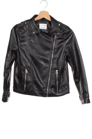 Детско кожено яке Zara, Размер 11-12y/ 152-158 см, Цвят Черен, Еко кожа, Цена 36,75лв.