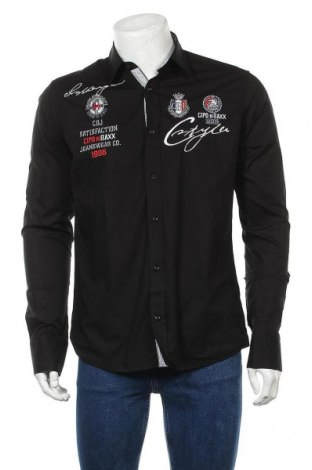 Мъжка риза Cipo & Baxx, Размер M, Цвят Черен, 97% памук, 3% еластан, Цена 40,70лв.