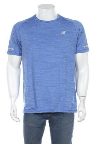 Мъжка тениска New Balance, Размер L, Цвят Син, 89% полиестер, 11% еластан, Цена 28,56лв.
