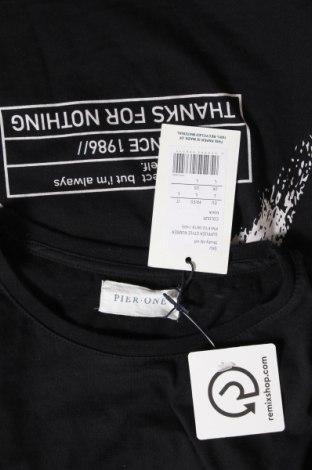Мъжка тениска Pier One, Размер L, Цвят Черен, Памук, Цена 21,00лв.