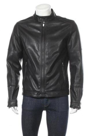 Ανδρικό δερμάτινο μπουφάν Bershka, Μέγεθος L, Χρώμα Μαύρο, Δερματίνη, Τιμή 27,28€