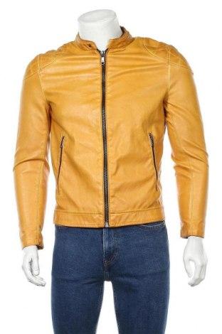 Ανδρικό δερμάτινο μπουφάν Zara Man, Μέγεθος S, Χρώμα Κίτρινο, Δερματίνη, Τιμή 33,77€