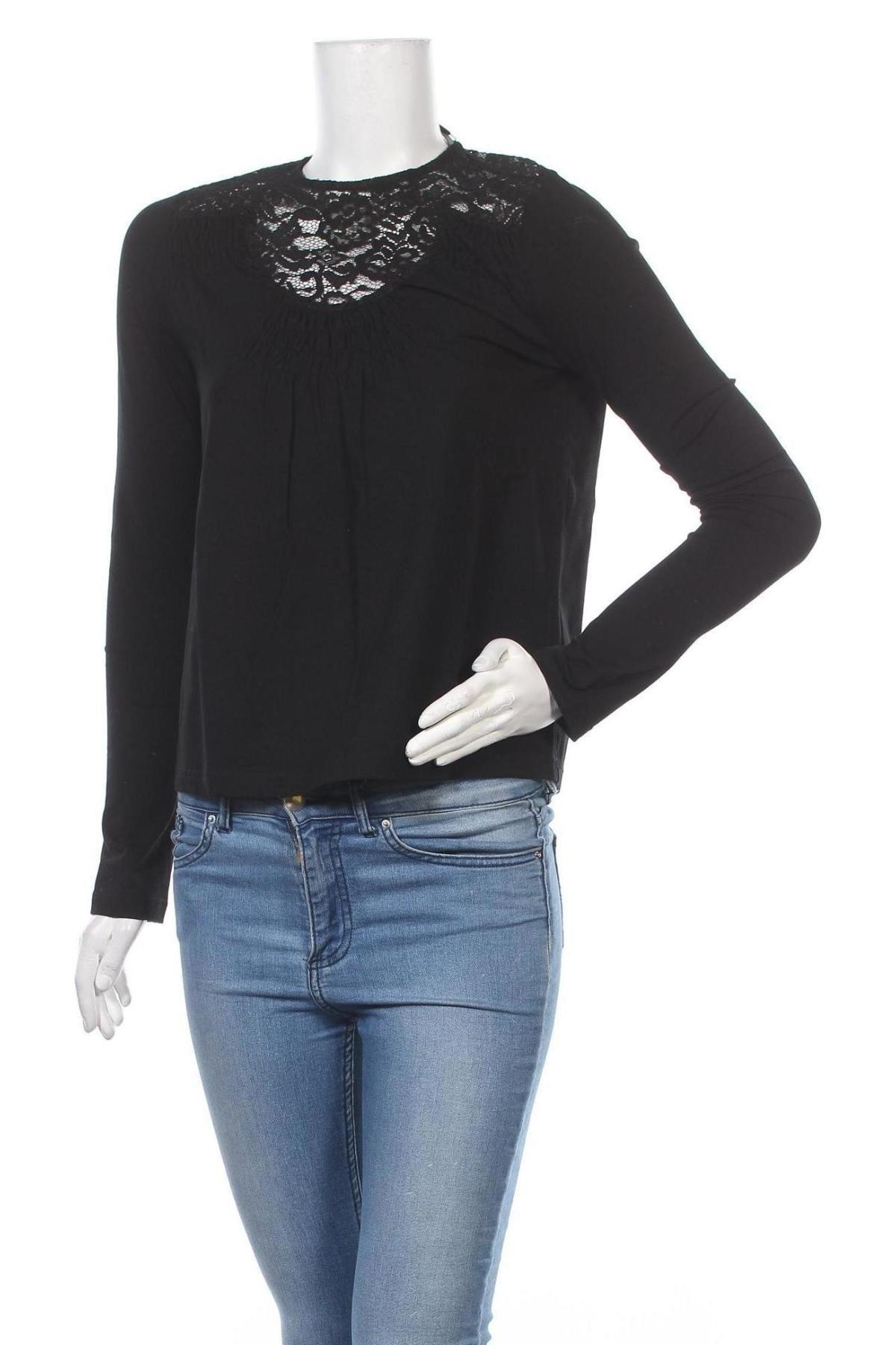 Дамска блуза Lost Ink, Размер XS, Цвят Черен, 95% памук, 5% еластан, Цена 8,44лв.