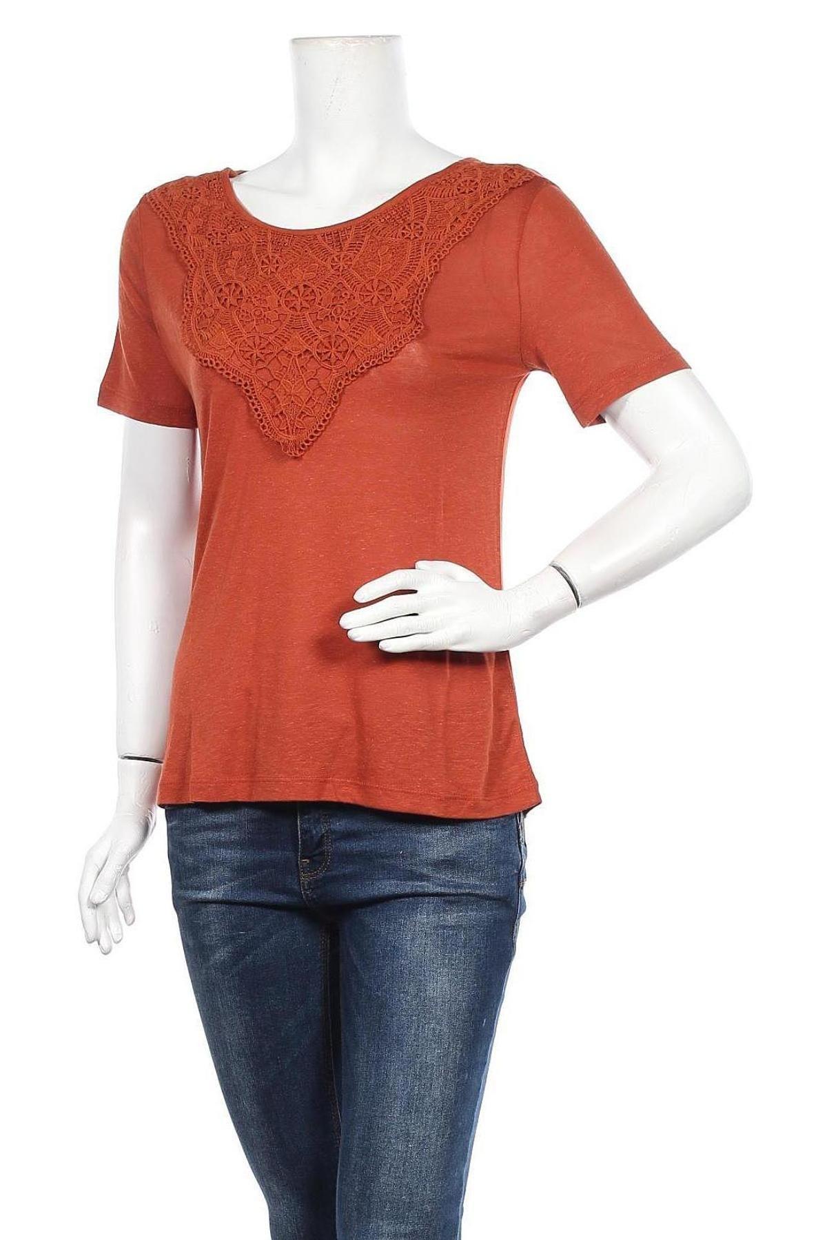 Γυναικεία μπλούζα ONLY, Μέγεθος S, Χρώμα Καφέ, 80% βισκόζη, 20% λινό, Τιμή 15,08€