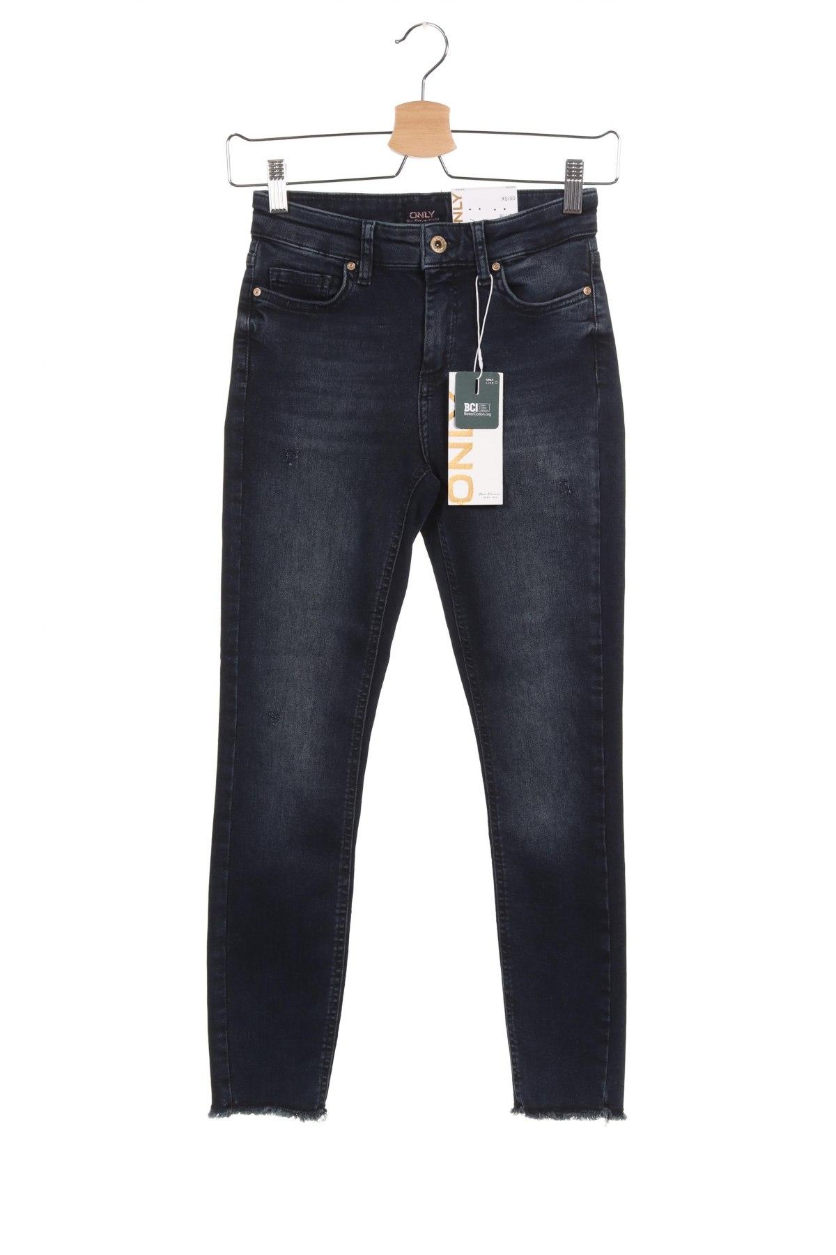 Дамски дънки ONLY, Размер XS, Цвят Син, 92% памук, 8% еластан, Цена 51,75лв.