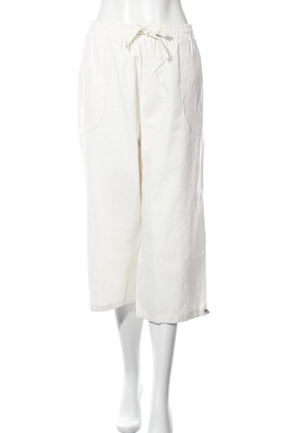Дамски панталон, Размер XL, Цвят Бял, 55% лен, 45% памук, Цена 20,38лв.