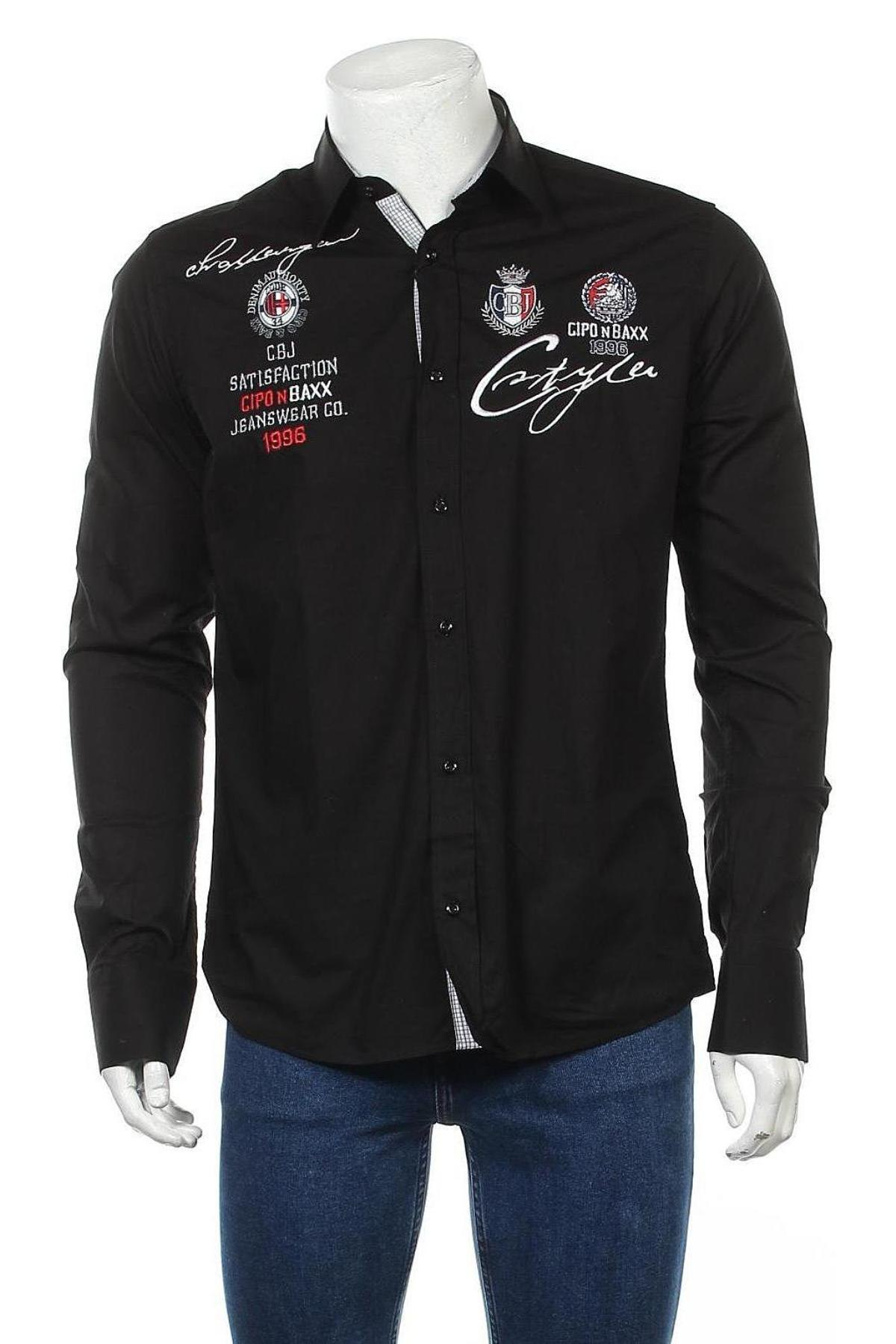 Мъжка риза Cipo & Baxx, Размер M, Цвят Черен, 97% памук, 3% еластан, Цена 17,02лв.