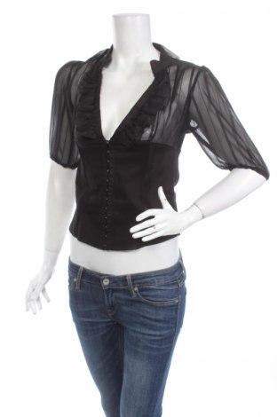 Γυναικείο πουκάμισο French Kiss, Μέγεθος M, Χρώμα Μαύρο, 95% βαμβάκι, 5% ελαστάνη, Τιμή 15,46€