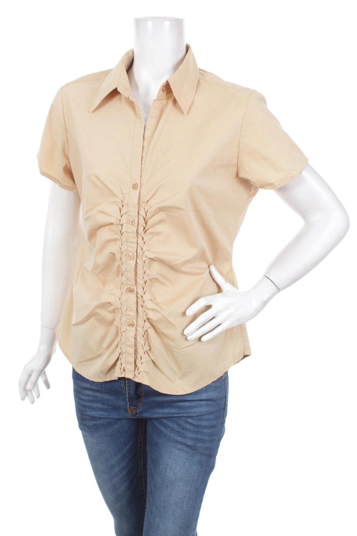 Γυναικείο πουκάμισο New York & Company, Μέγεθος L, Χρώμα Εκρού, 60% βαμβάκι, 35% πολυεστέρας, 5% ελαστάνη, Τιμή 11,13€
