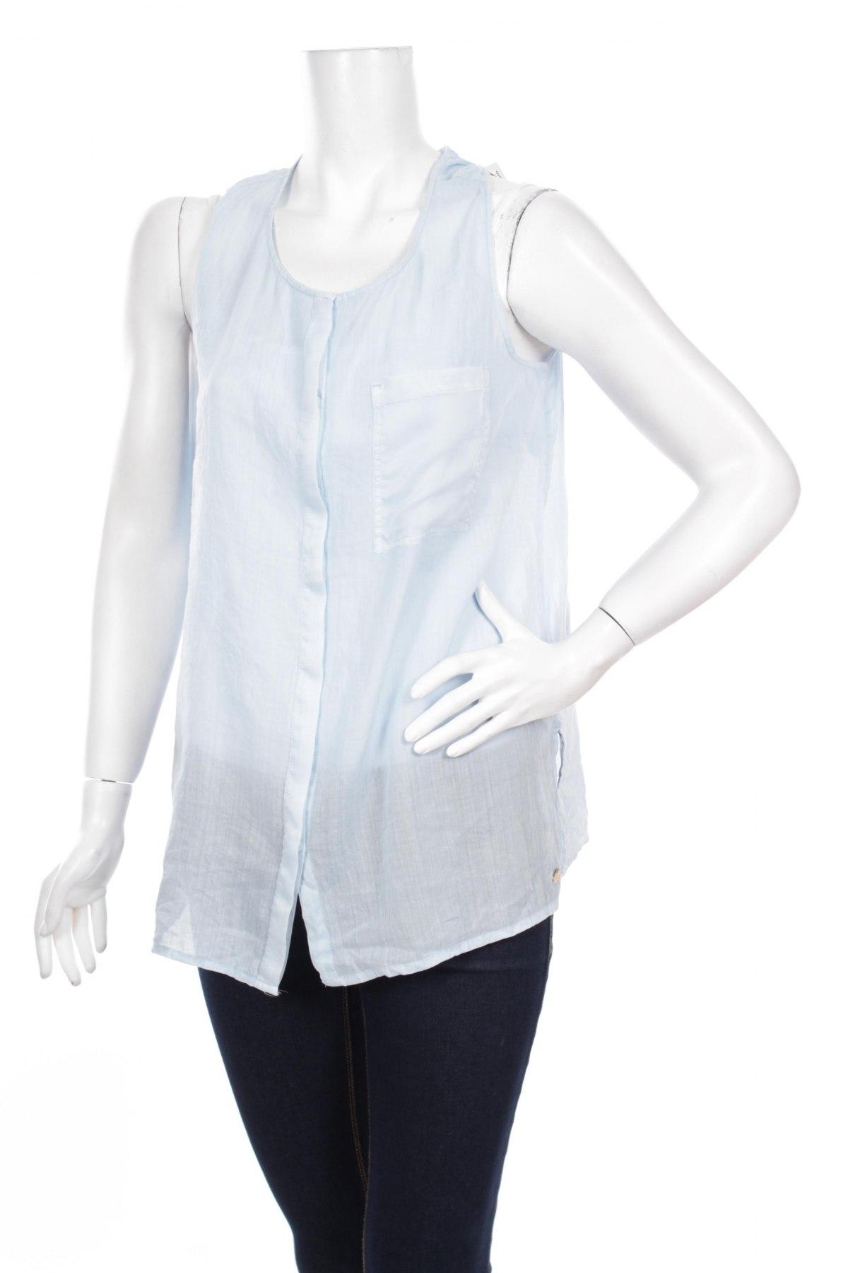 Γυναικείο πουκάμισο S.Oliver, Μέγεθος L, Χρώμα Μπλέ, 56% ραμί, 44% βαμβάκι, Τιμή 10,82€
