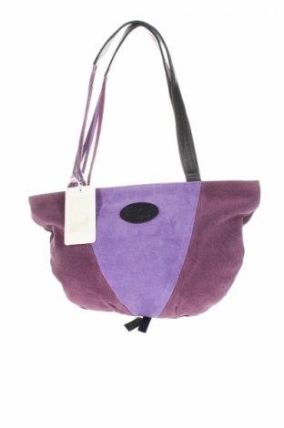 Дамска чанта Aula Magna, Цвят Лилав, Естествен велур, Цена 65,28лв.